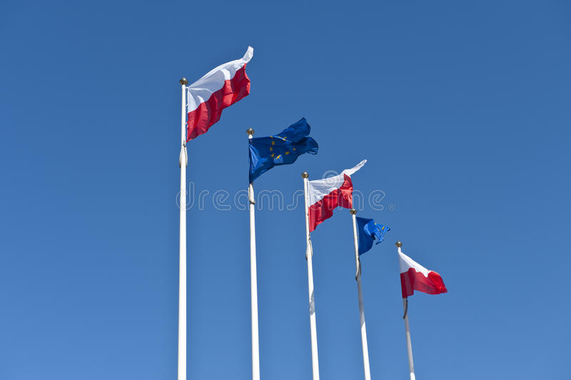 Download Polish And EU Flags On Sky Background Stock Image - Image of country, icon: 19243157