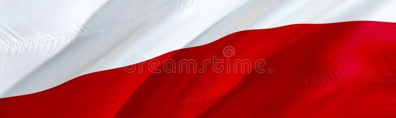 Polish flag. Flag of Poland. 3D Waving flag design,3D rendering. The national symbol of Poland background wallpaper. 3D ribbon, stock illustration