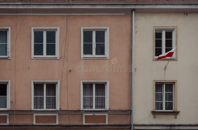 Polish Flag. Waving on the building stock photography