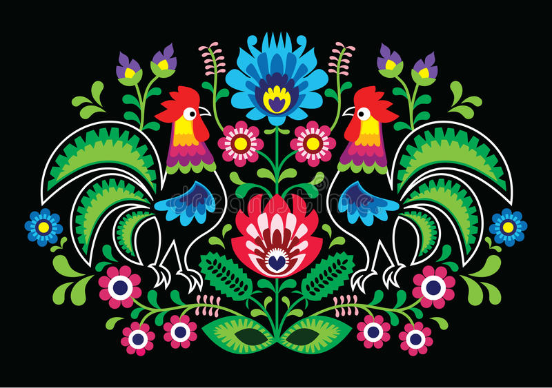 Polish floral embroidery with - traditional folk pattern. Decorative traditional patters set - paper catouts style on black background stock illustration