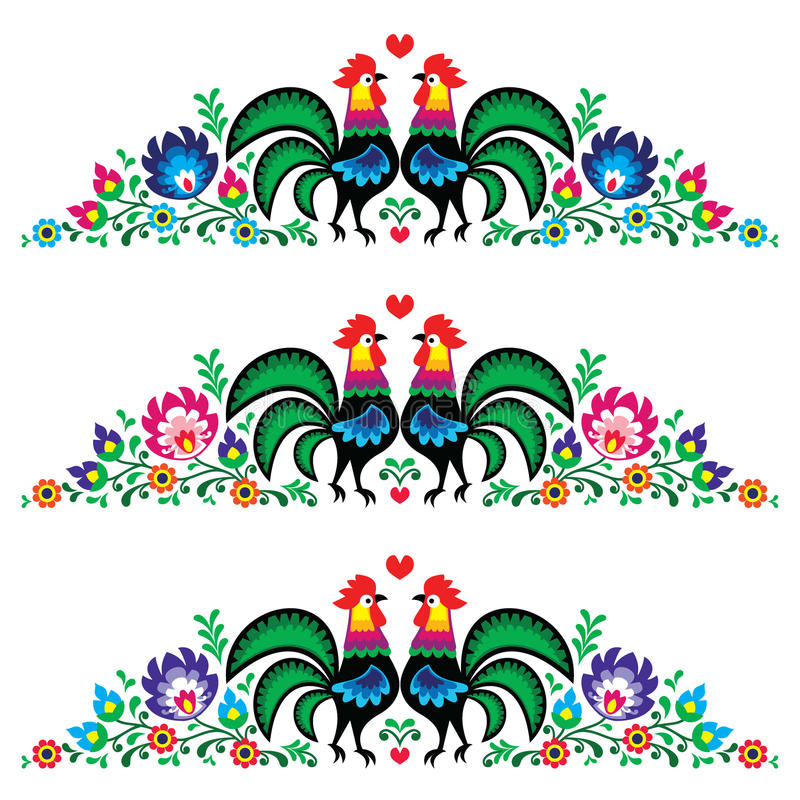 Polish floral embroidery pattern with roosters. Decorative traditional colorful patters set - border decoration with flowers and royalty free illustration