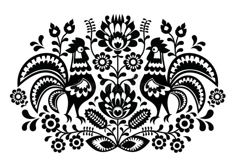 Polish floral embroidery with roosters - traditional folk pattern. Decorative traditional monochrome patters set - paper catouts style isolated on white stock illustration