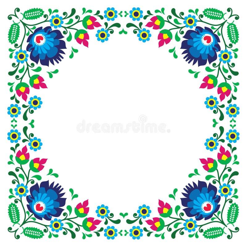 Polish floral folk embroidery frame pattern royalty free illustration