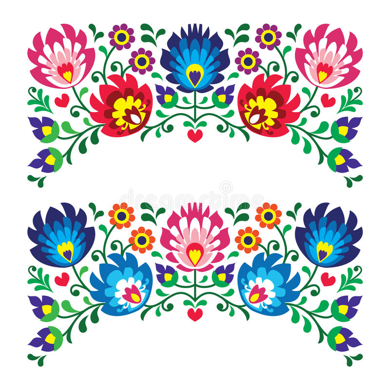 Polish floral folk embroidery patterns for card. Traditional pattern form Poland - paper catouts style isolated on white stock illustration