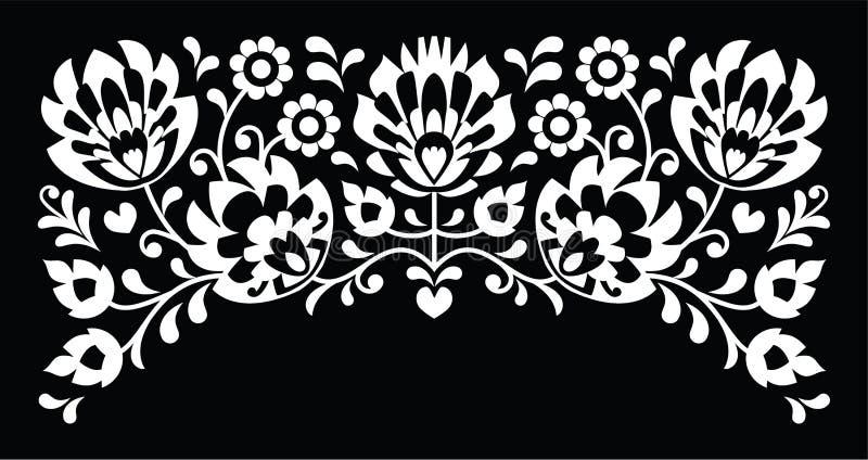 Polish floral folk white embroidery pattern on black background stock illustration
