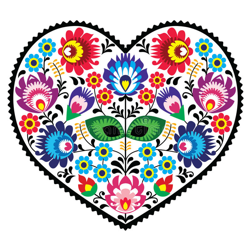Polish folk art art heart embroidery with flowers - wzory lowickiee. Decorative traditional vector patterns set - paper catouts style isolated on white vector illustration