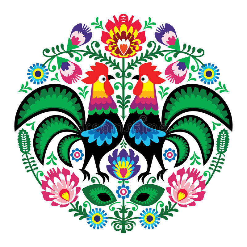 Polish folk art floral embroidery with roosters, traditional pattern - Wycinanki Lowickie. Decorative Slavic traditional vector pattern - paper cutouts style vector illustration