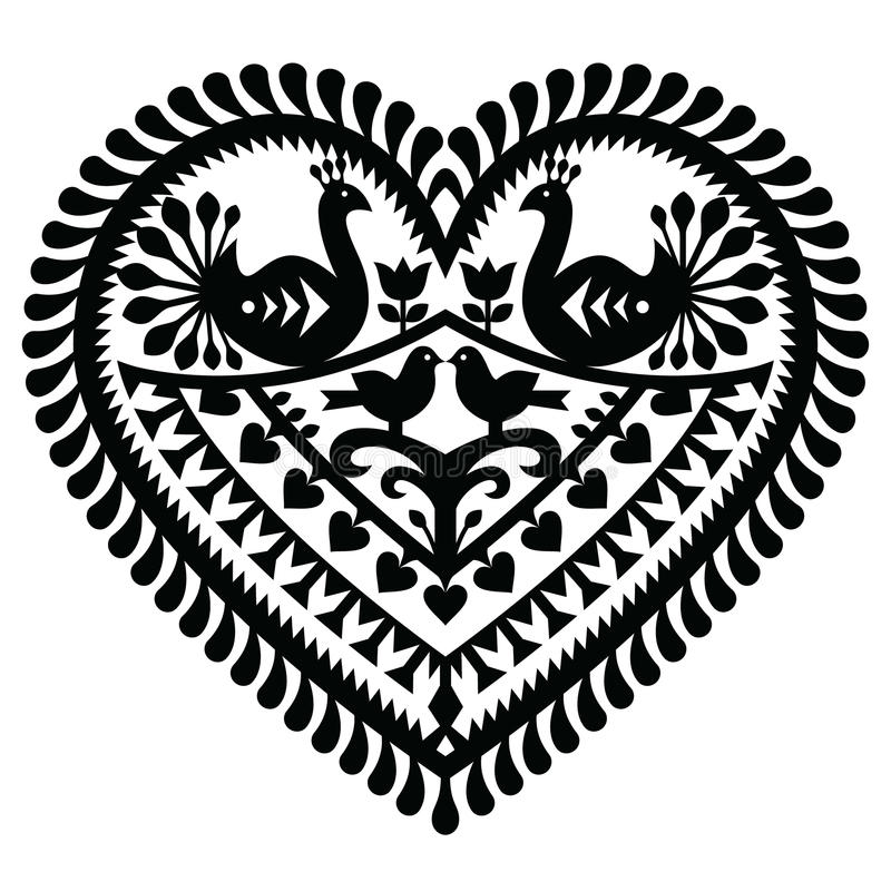 Polish folk art heart pattern for Valentine. Vector folk design from the region of Kurpie in Poland - love concept vector illustration
