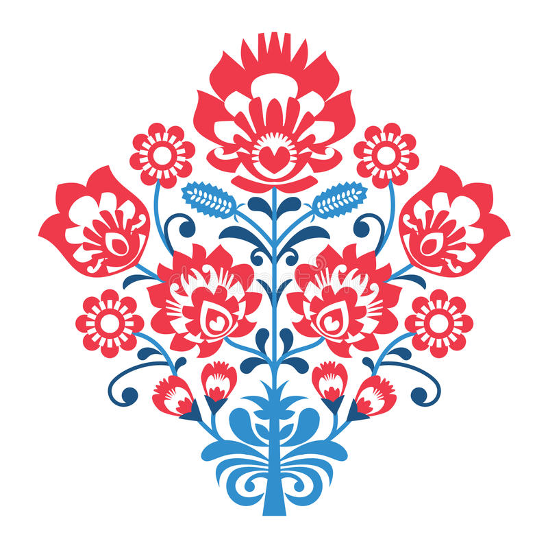 Polish Folk art pattern with flowers - wzory lowickie, wycinanka. Decorative traditional retro pattern in red and blue stock illustration
