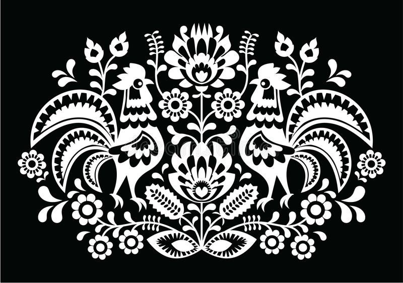 Polish folk art pattern roosters on black - Wzory Lowickie, Wycinanka. Slavic decorative traditional vector white patter on black background - paper cutouts stock illustration