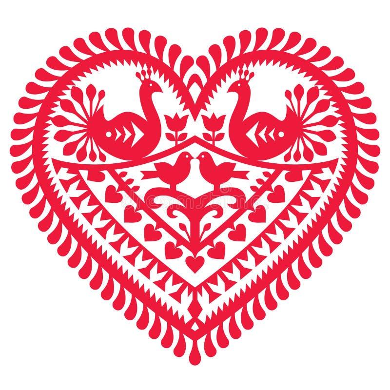 Polish folk art pattern for Valentine's Day - Wycinanki Kurpiowskie (Kurpie Papercuts). Vector folk design from the region of Kurpie in Poland - love concept vector illustration
