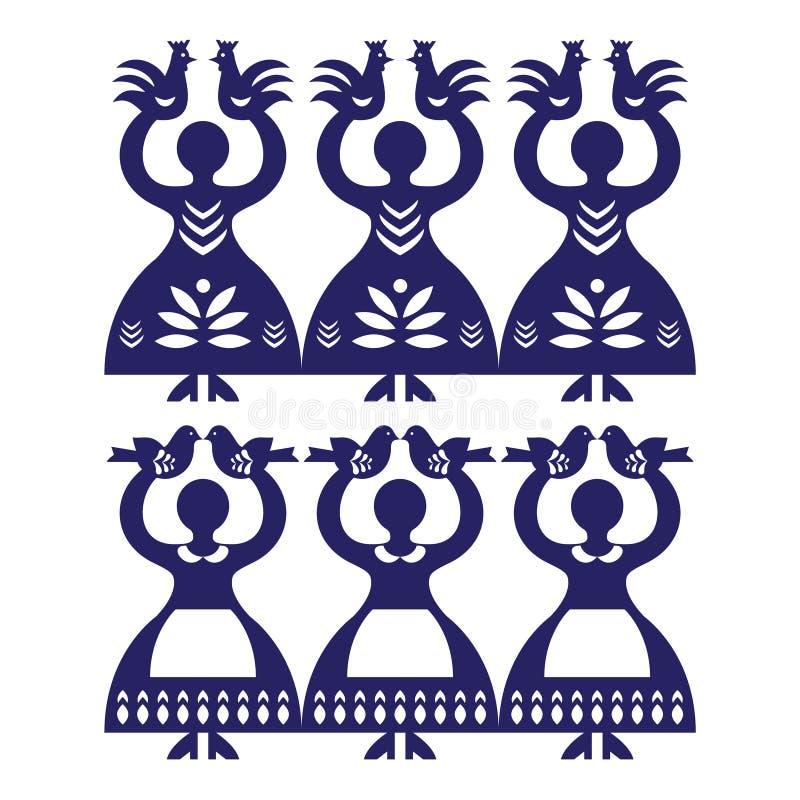 Polish folk art pattern Wycinanki Kolbielskie - Kolbiel Papercuts with women holding birds. Vector folk design from the region of Kolbiel in Poland with women stock illustration