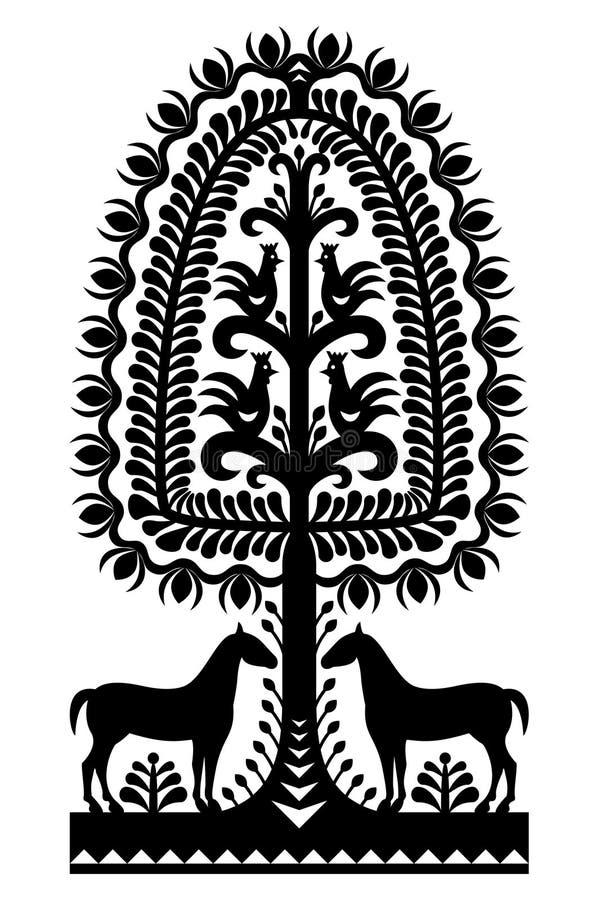 Polish folk art pattern Wycinanki Kurpiowskie in black. Vector design of horse, tree and chickens - folk design from the region of Kurpie in Poland vector illustration