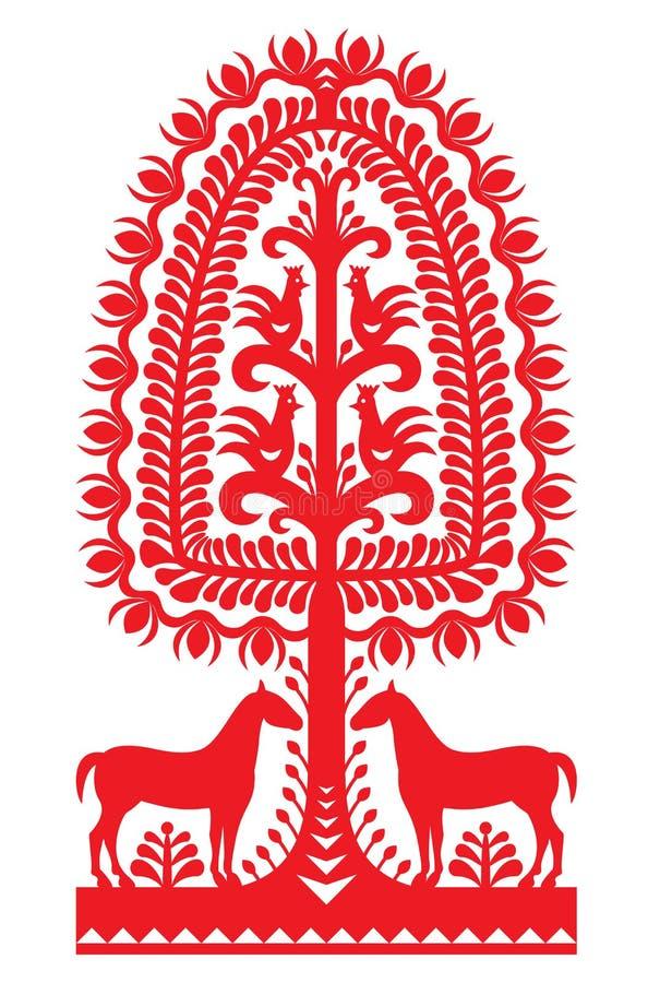 Polish folk art pattern Wycinanki Kurpiowskie - Kurpie Papercuts. Vector design of horse, tree and chickens - folk design from the region of Kurpie in Poland vector illustration