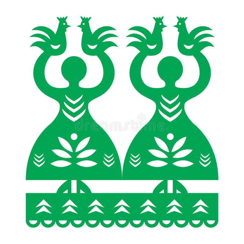 Polish folk art pattern Wycinanki Kurpiowskie - Kurpie Papercuts. Vector folk design from the region of Kurpie in Poland with women, birds royalty free illustration