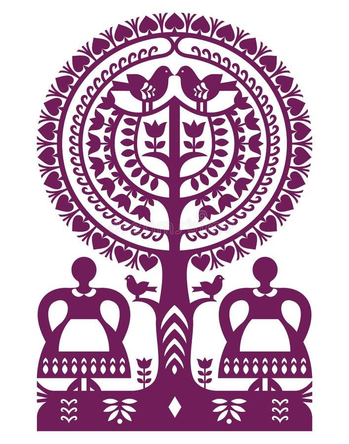 Polish folk art pattern Wycinanki Kurpiowskie - Kurpie Papercuts. Vector folk design from the region of Kurpie in Poland with women, tree, birds royalty free illustration