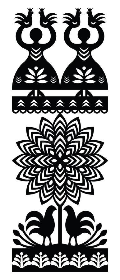 Polish folk art pattern Wycinanki Kurpiowskie - Kurpie Papercuts. Vector folk design from the region of Kurpie in Poland with women, tree, birds stock illustration