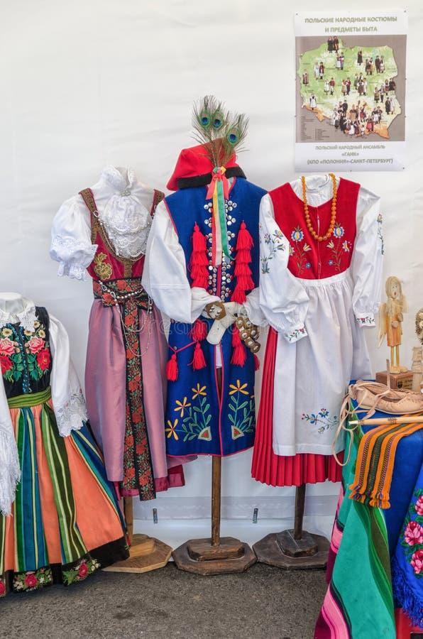 Polish folk costumes. stock photos