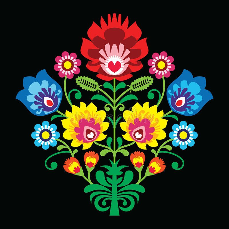 Polish folk embroidery with flowers - traditional pattern on black background. Decorative traditional patterns set - Wzory Lowickie stock illustration