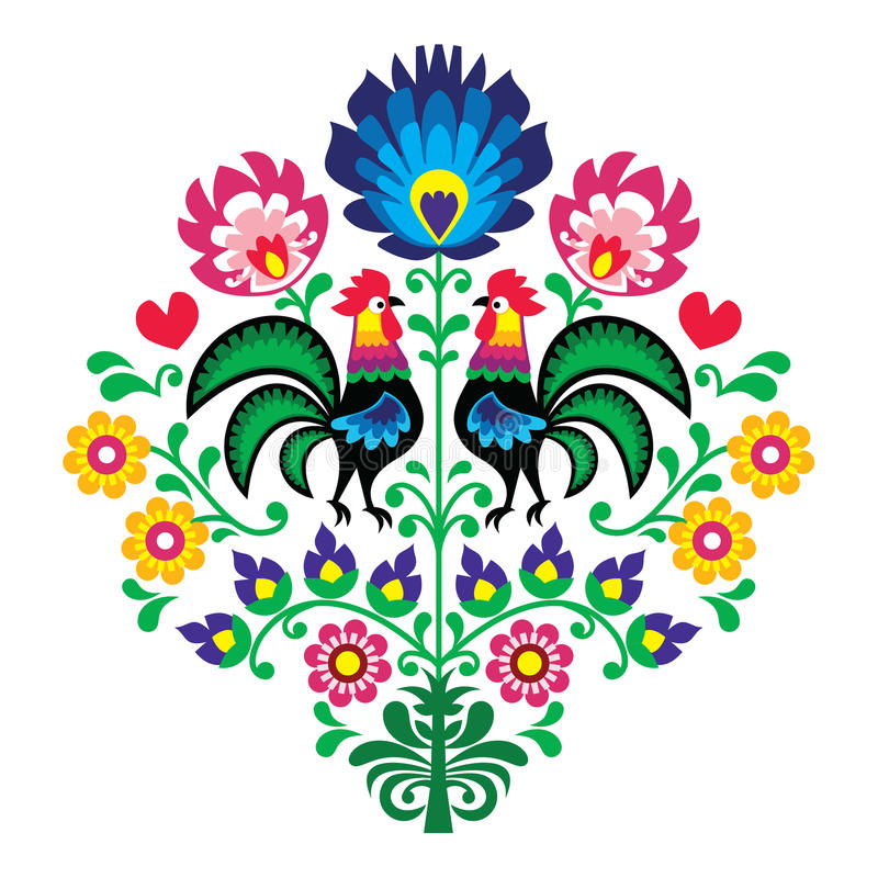 Polish folk embroidery with roosters - floral pattern Wzory Lowickie Wycinanka vector illustration