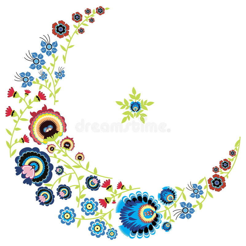 Polish folk floral pattern in moon and star shape on white background. Graphic stock illustration