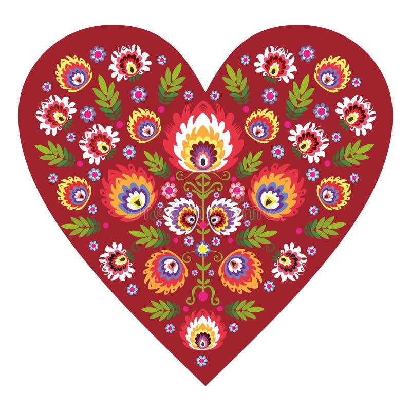 Polish folk heart stock illustration