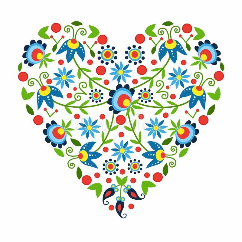 Polish folk heart vector illustration