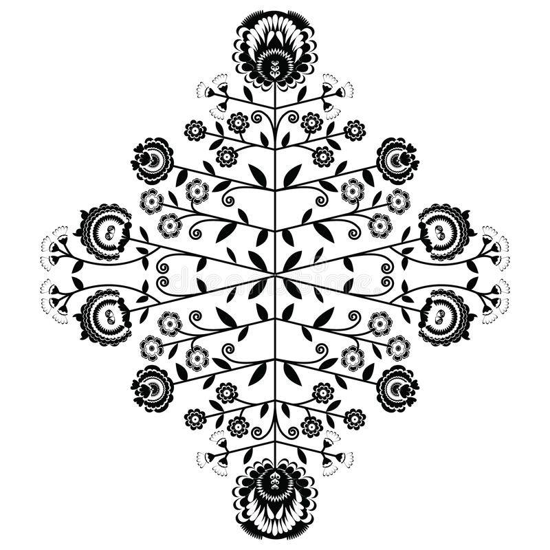 Polish folk inspired floral black pattern on white background royalty free illustration