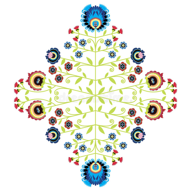 Polish folk inspired floral pattern vector illustration