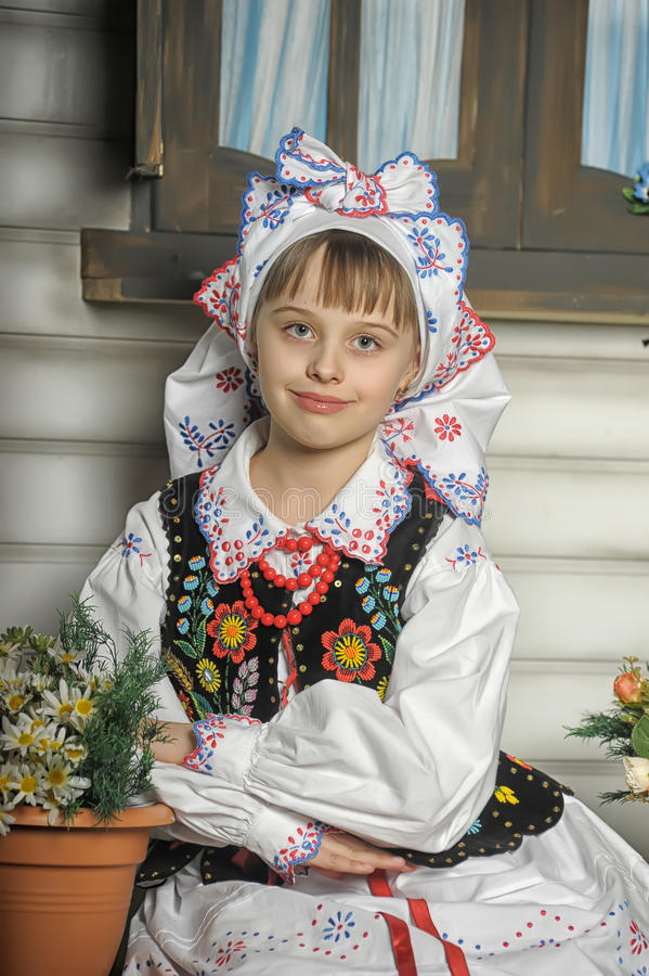 Polish girl in national costume. Girl in Polish national costume of Rzeszów royalty free stock images