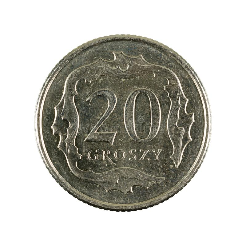 20 polish groszy coin 2018 obverse isolated on white background. Single 20 polish groszy coin 2018 obverse isolated on white background stock photos