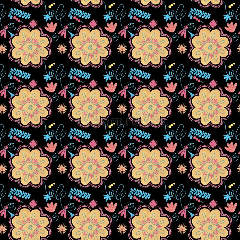 Polish herbal pattern with orange flowers decor, traditional Polish folk seamless Pattern with floral illustrations stock illustration