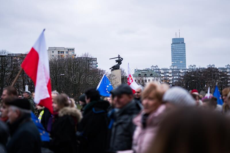 Polish judges silent rally to defend Polish justice. Marsz Tysiaca Tog. March of a thousand gowns stock images