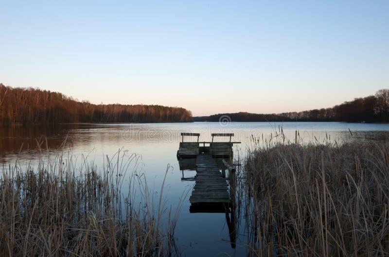 Polish lake on a winter evening