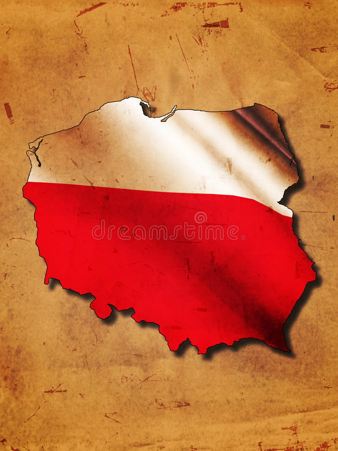 Polish map. With flag over old paper royalty free illustration