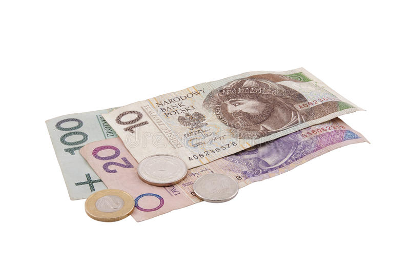 Polish money isolated on white. With clipping path stock images