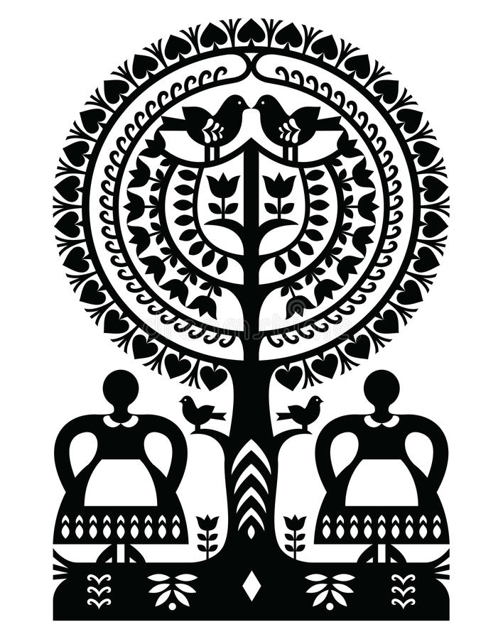 Polish monochrome folk art pattern Wycinanki Kurpiowskie - Kurpie Papercuts. Vector folk design from the region of Kurpie in Poland with women, tree, birds vector illustration