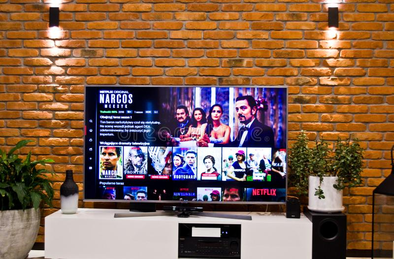 Polish Netflix television screen with popular series choice royalty free stock photography