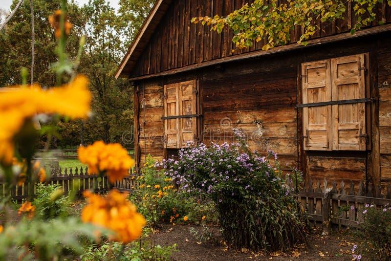 Polish old wooden house. stock image