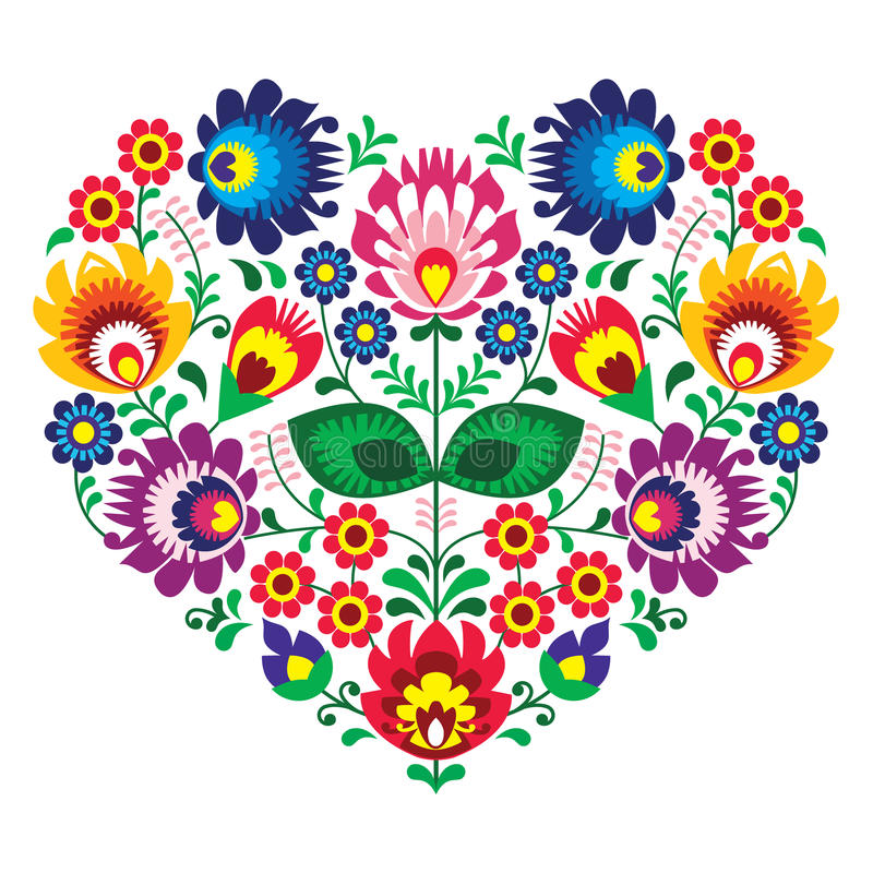 Polish olk art art heart embroidery with flowers - wzory lowickie. Decorative traditional patterns set - paper catouts style isolated on white royalty free illustration