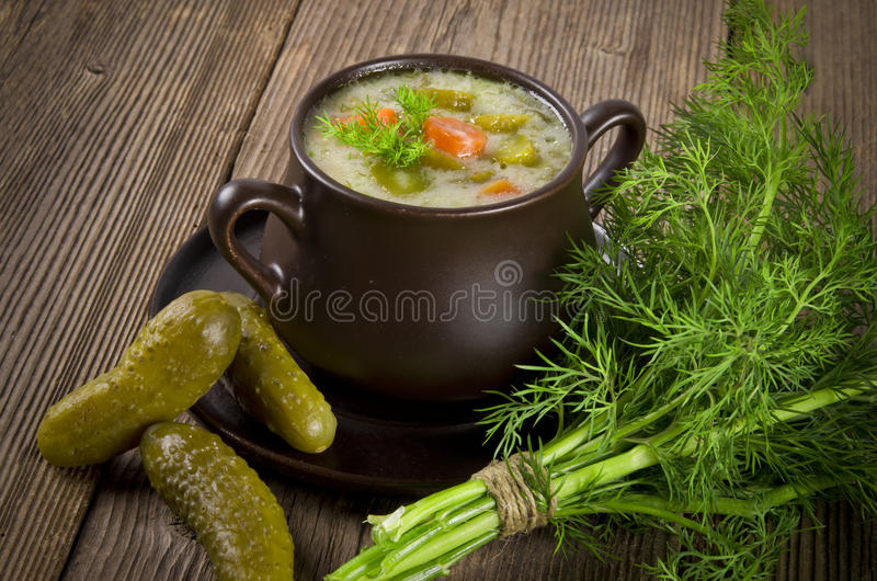 Polish pickled cucumbers soup stock image