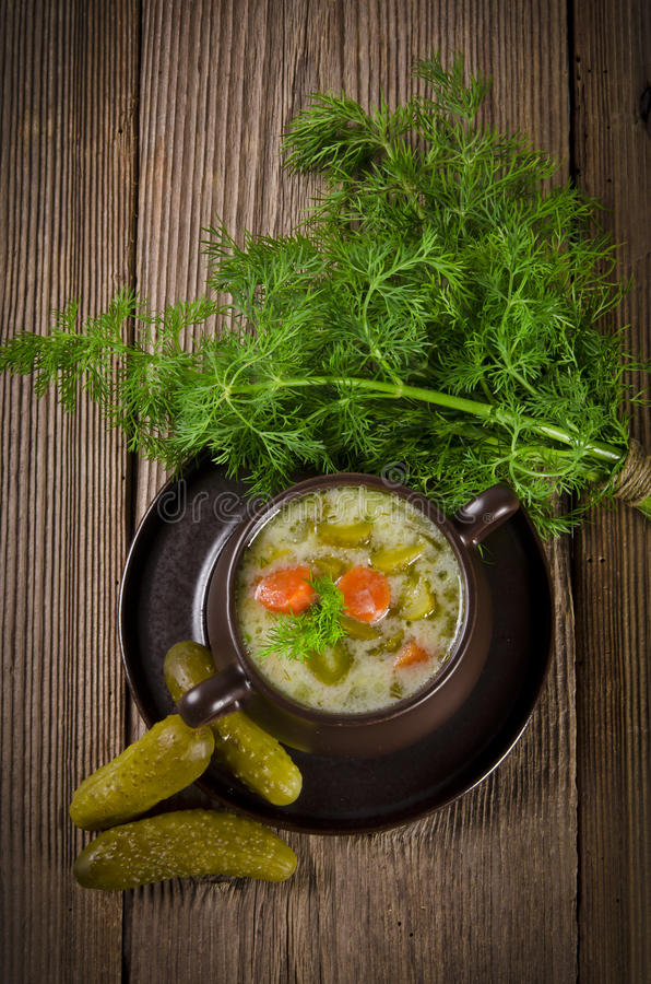 Polish Pickled Cucumbers Soup Royalty Free Stock Photo