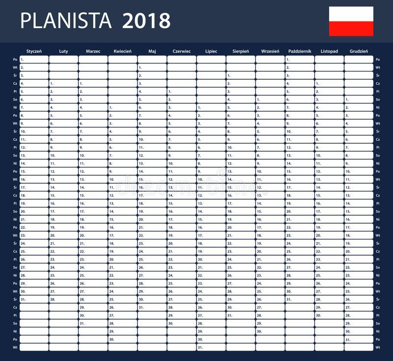 Polish Planner blank for 2018. Scheduler, agenda or diary template. Polish Planner blank for 2018. Scheduler, agenda or diary template vector illustration
