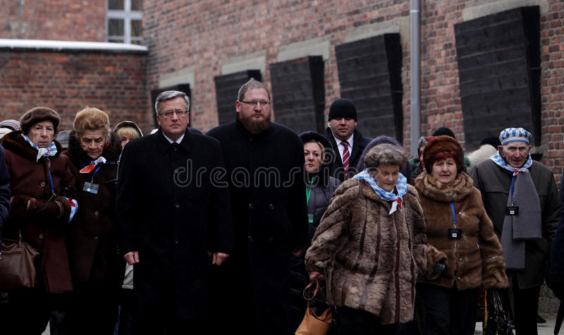 Polish President Bronisław Komorowski,70th anniversary of the liberation on Nazi German concentraction stock images