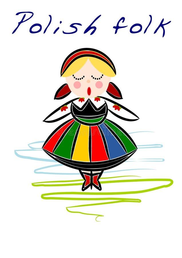 Polish regional folk - vector. Beauty Polish National ethnic costume - illustration, Vector vector illustration