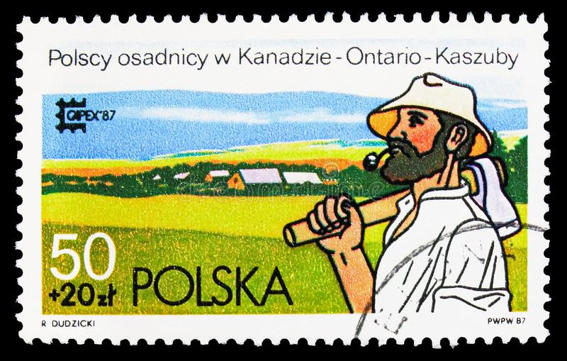 Polish Settler at Kasubia, Ontario, 'Capex '87 ' International Stamp Exhibition, Toronto serie, circa 1987. MOSCOW, RUSSIA - SEPTEMBER 15, 2018: A stamp printed royalty free illustration