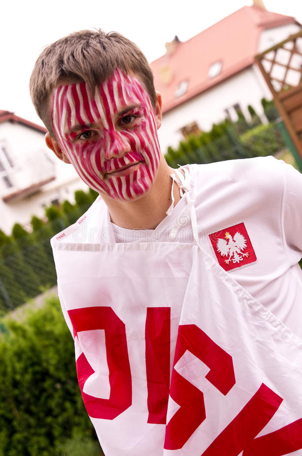 Polish sports fan royalty free stock image