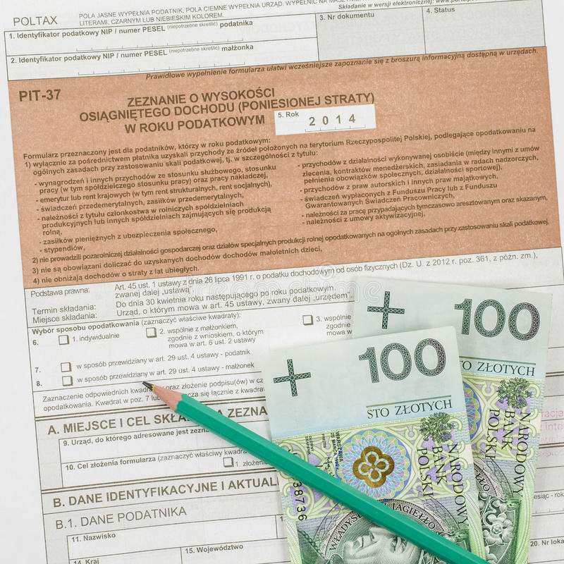 Polish tax form with pencil. And cash royalty free stock photography