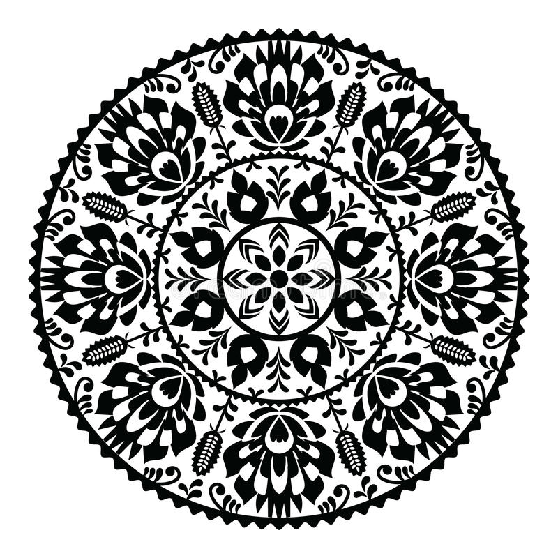 Polish traditional black folk pattern in circle - Wzory Lowickie vector illustration