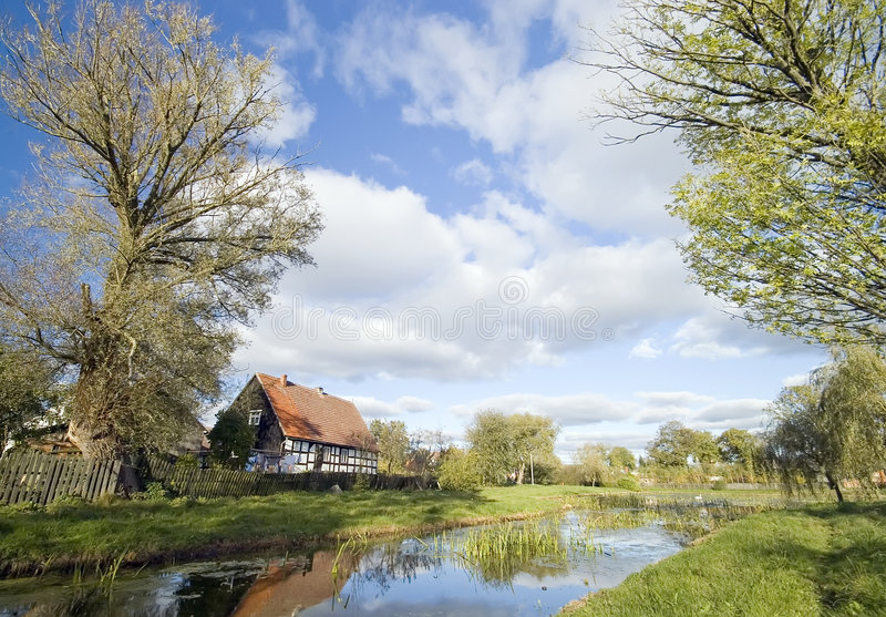 Polish village landscape stock photos